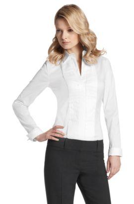 Fashion-Bluse ´Bashino` mit Plisee-Plastron, Weiß
