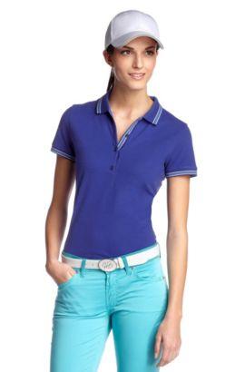 Poloshirt ´Paulla` mit dezenten Zierstreifen, Blau