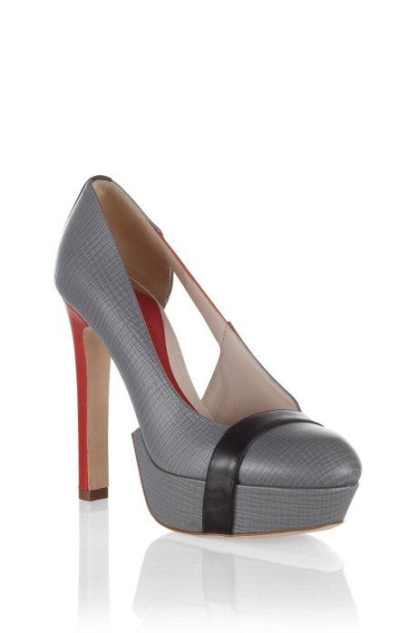 Leather platform court shoe 'CHRISTINNE', Grey