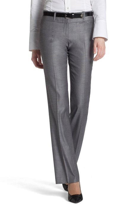 New wool/viscose trousers 'Tuliana2', Open Grey