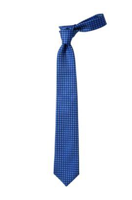 Cravate en soie à rayures, Tie 7,5 cm, Bleu foncé