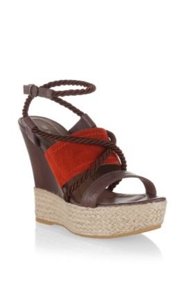 Designer wedge-heel sandal 'VIOLE', Dark Orange