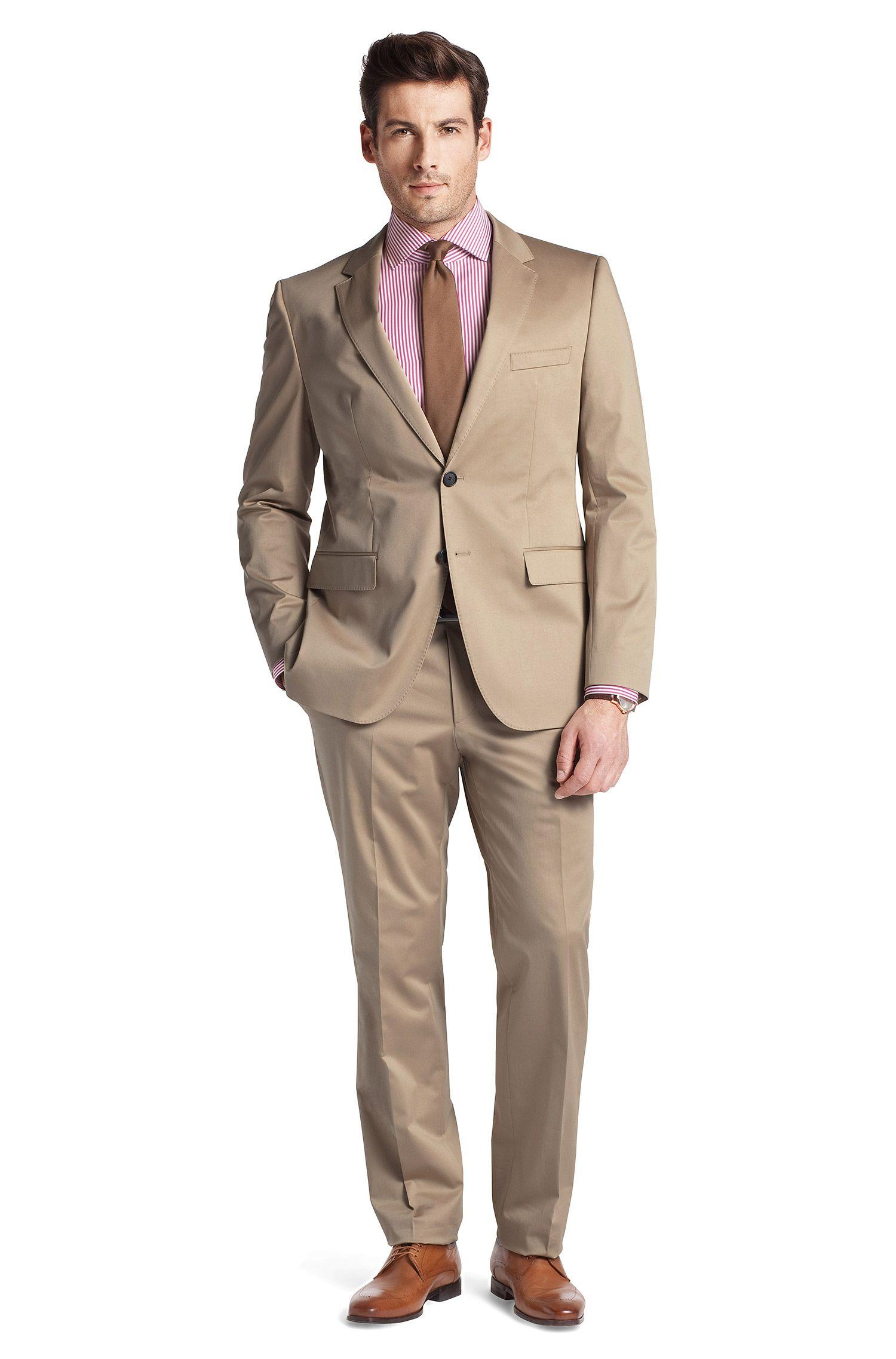 Anzug ´The James3/Sharp5` aus Baumwoll-Stretch, Hellbeige