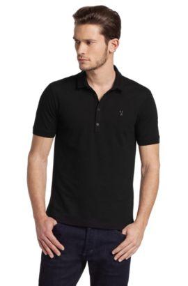 Polo mode en coton mélangé, Dolon, Noir