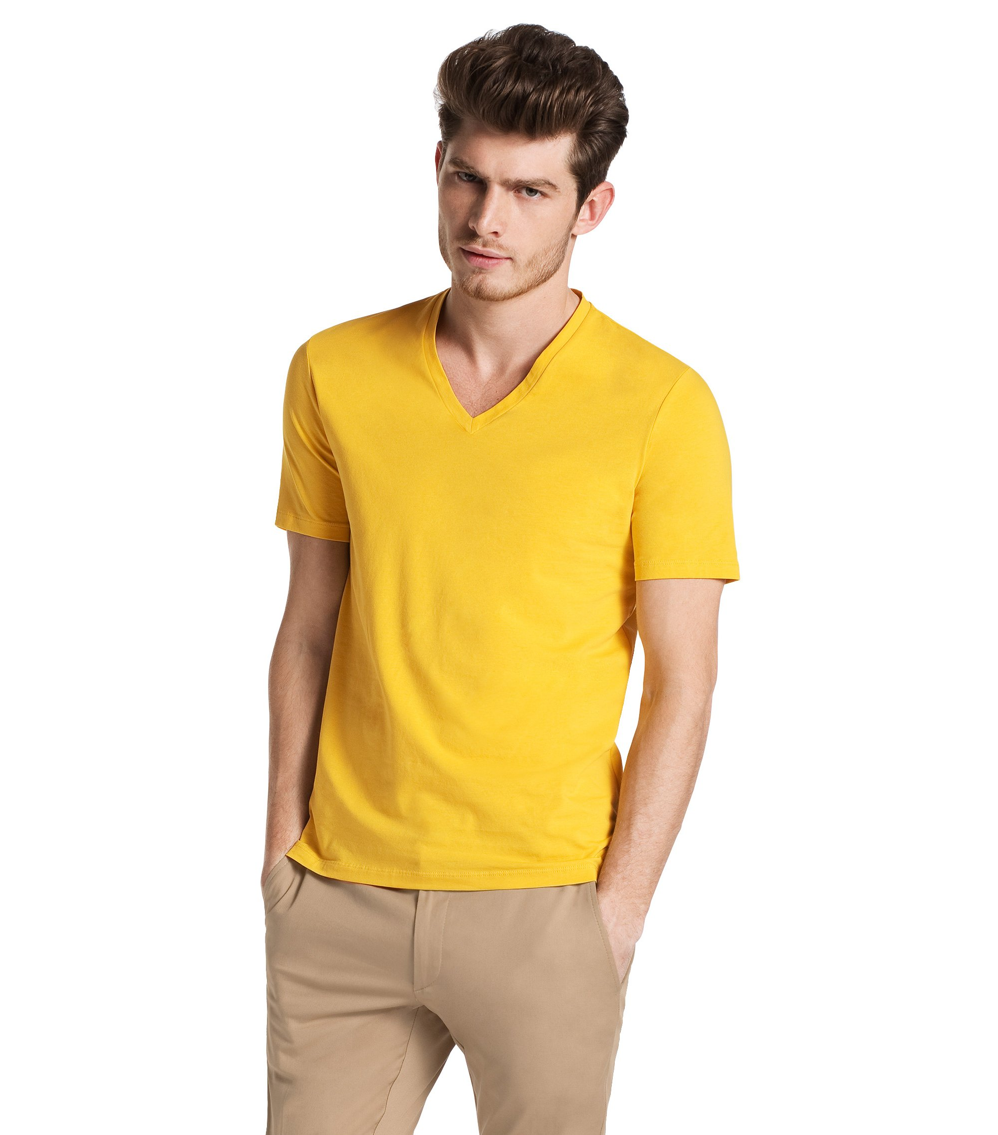 V-neck T-shirt 'Dredoso', Yellow