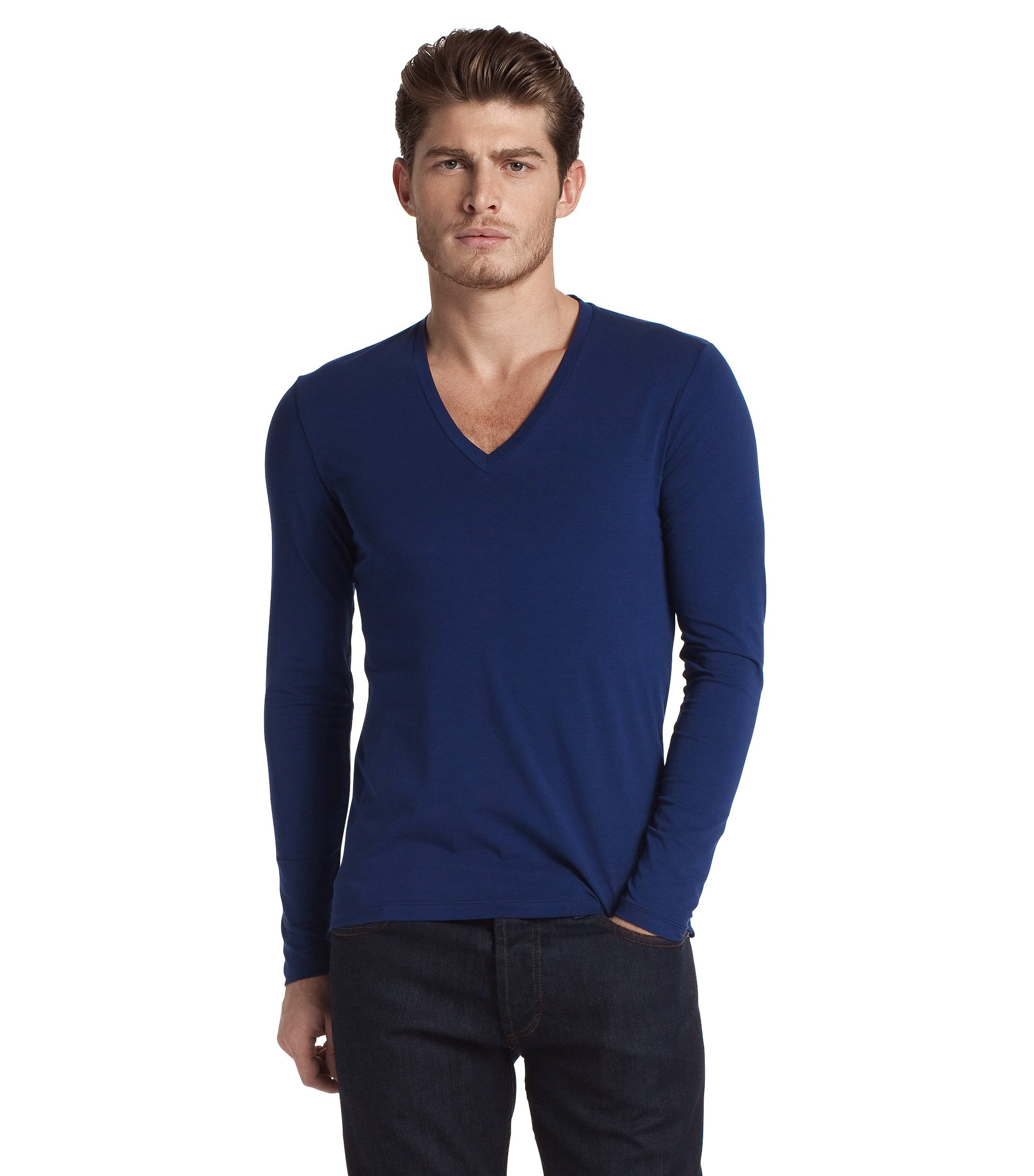 Long sleeve T-shirt with elastane 'Dredino', Dark Blue