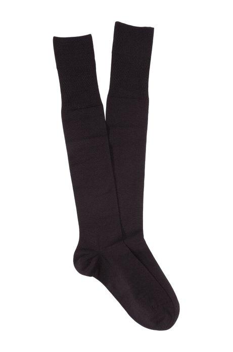 Knee socks with comfortable tops 'George KH Uni', Dark Brown
