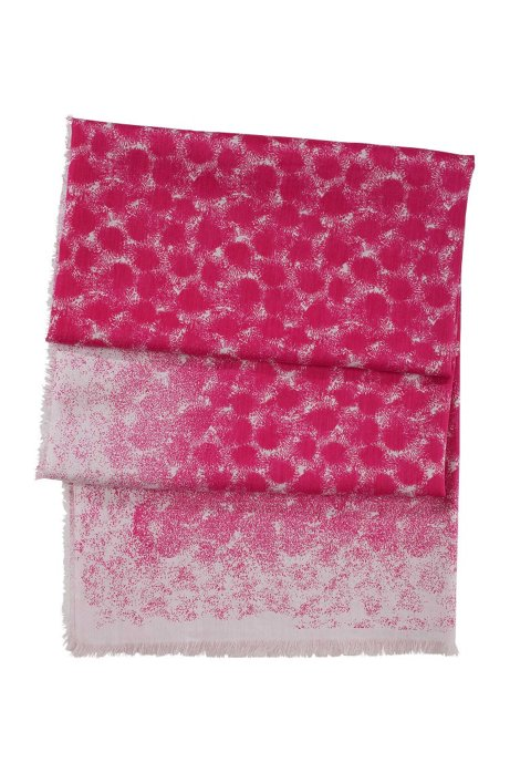 XXL scarf in blended cotton and silk 'SC467', Patterned