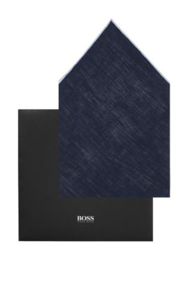 Pochette en lin, Pocket square 33 x 33, Bleu foncé