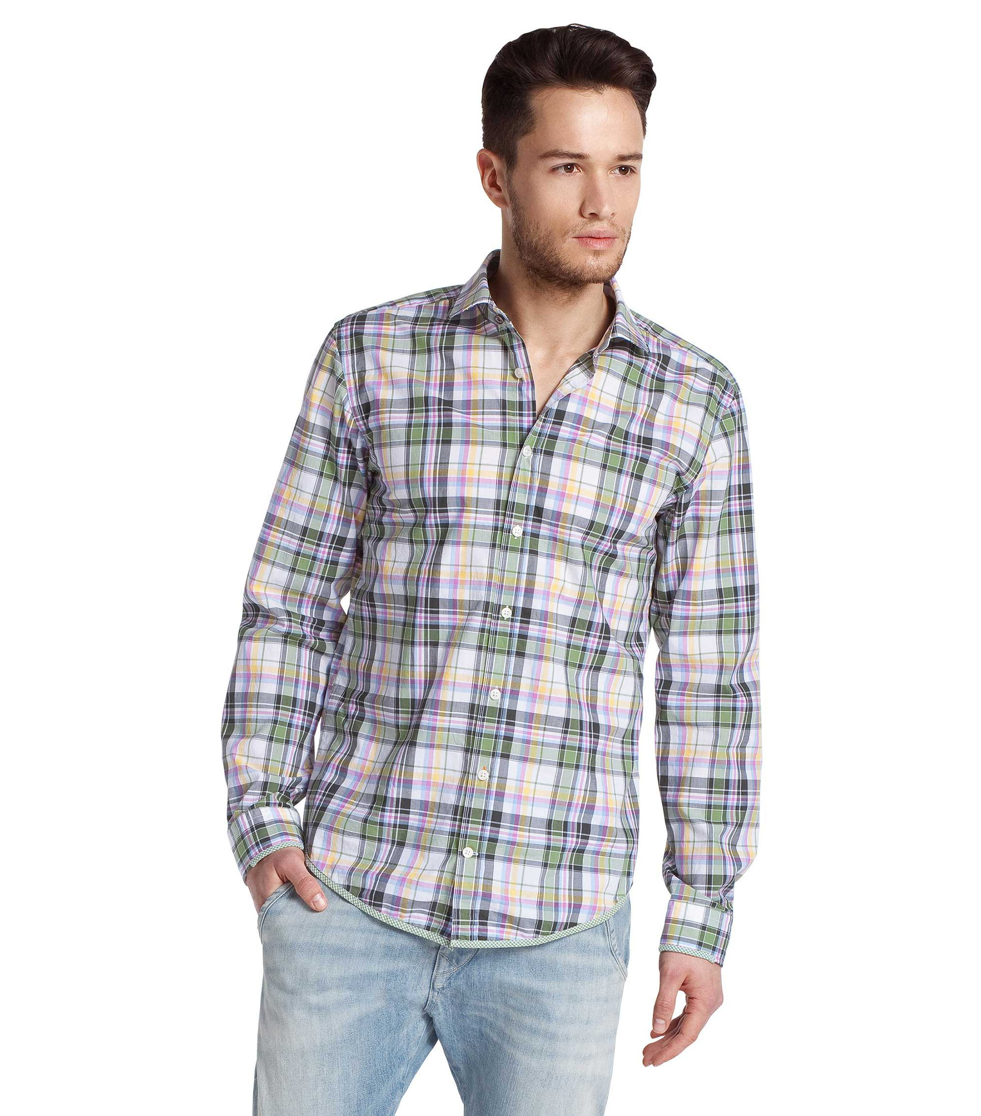 Leisure shirt with a small Kent collar ´EtalyE`, Green