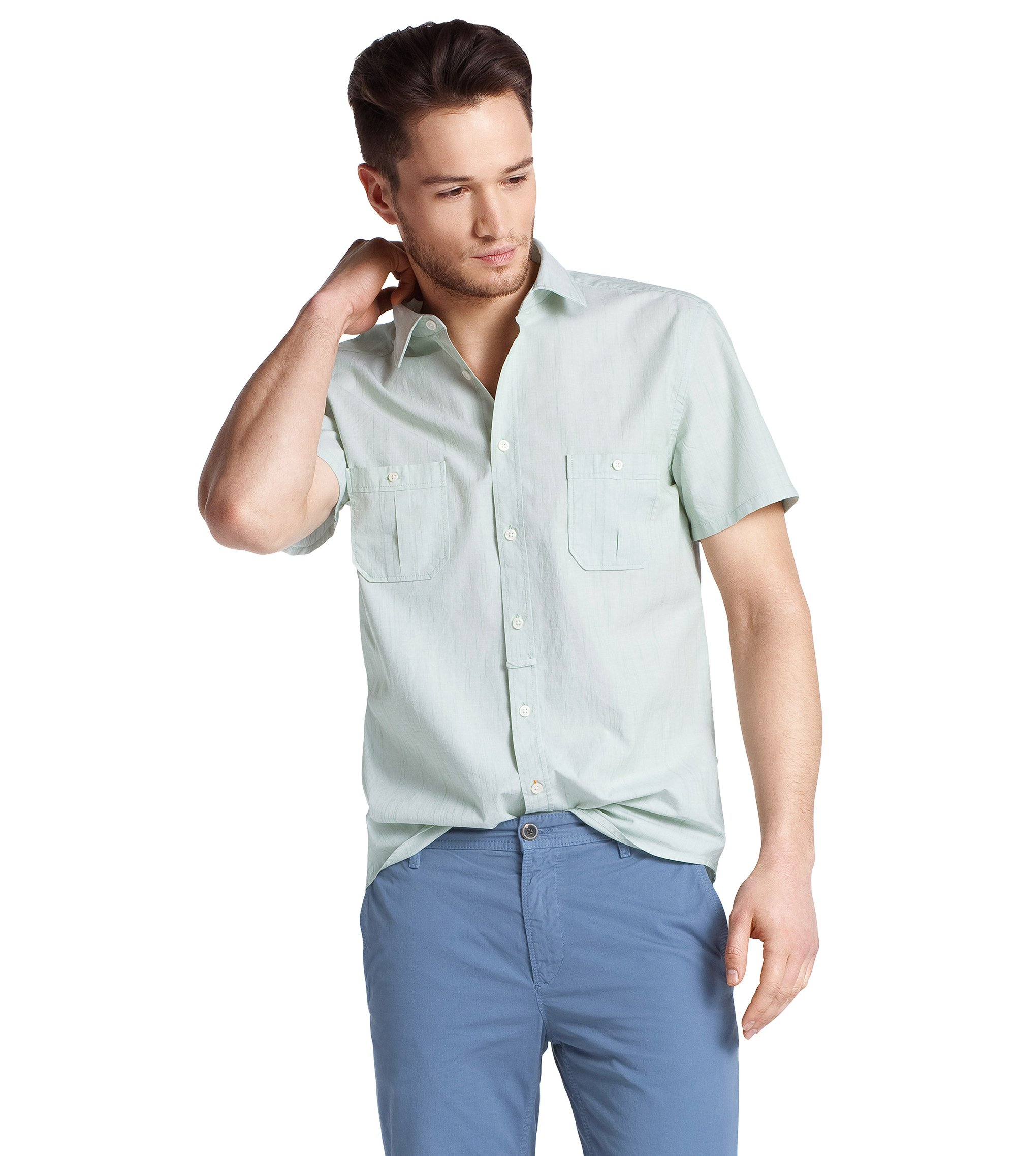 Leisure shirt with a Kent collar 'EgrifyE', Green