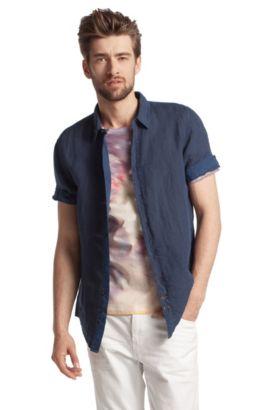 Kurzarm-Hemd ´Cliffi` mit schmalem Kentkragen, Dunkelblau