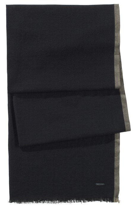 Cotton scarf 'Men-Z 306', Black