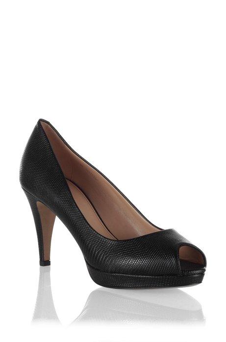 Peep-toe court shoe in finest calfskin ´Eldoral`, Black