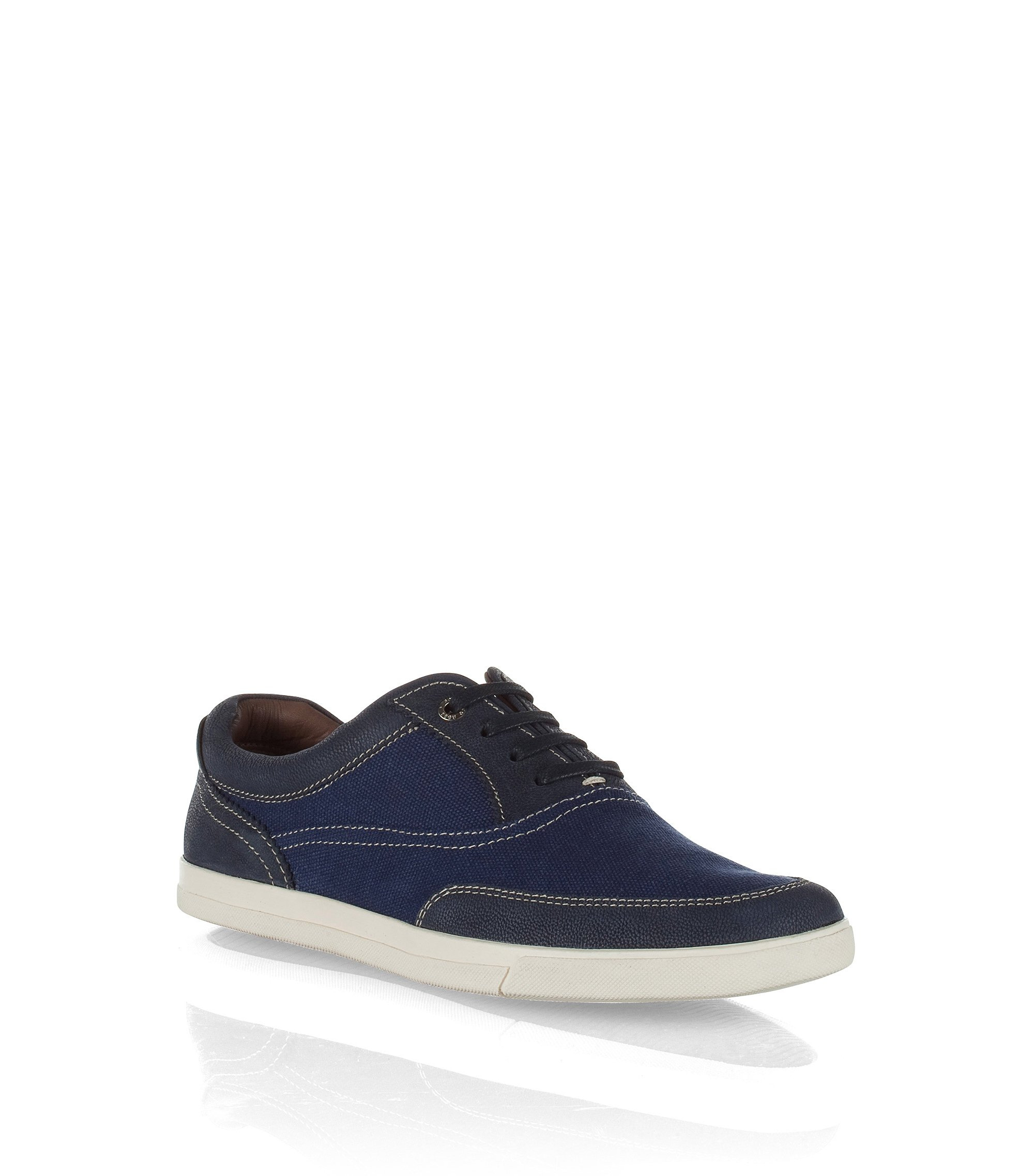 Sneakers ´Cejano` van canvas en kalfsleer, Donkerblauw