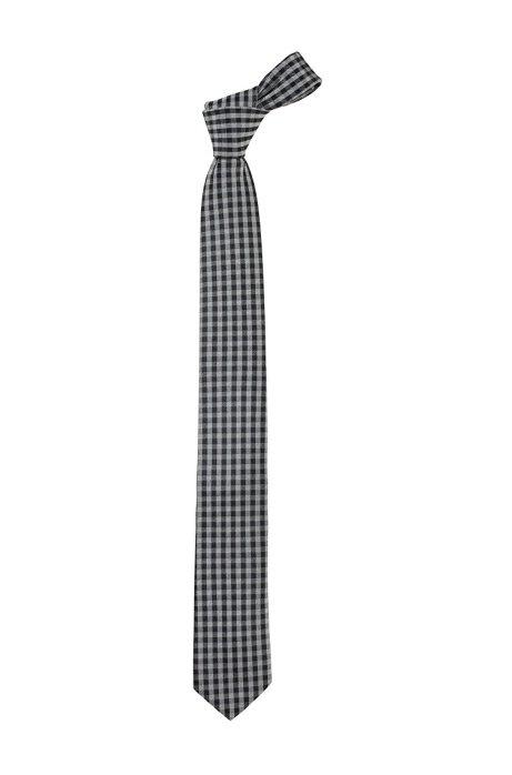 Blended silk tie 'Tie 6 cm', Open Grey
