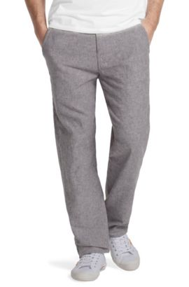 Pantalon détente en lin et coton, Slant-W, Gris sombre