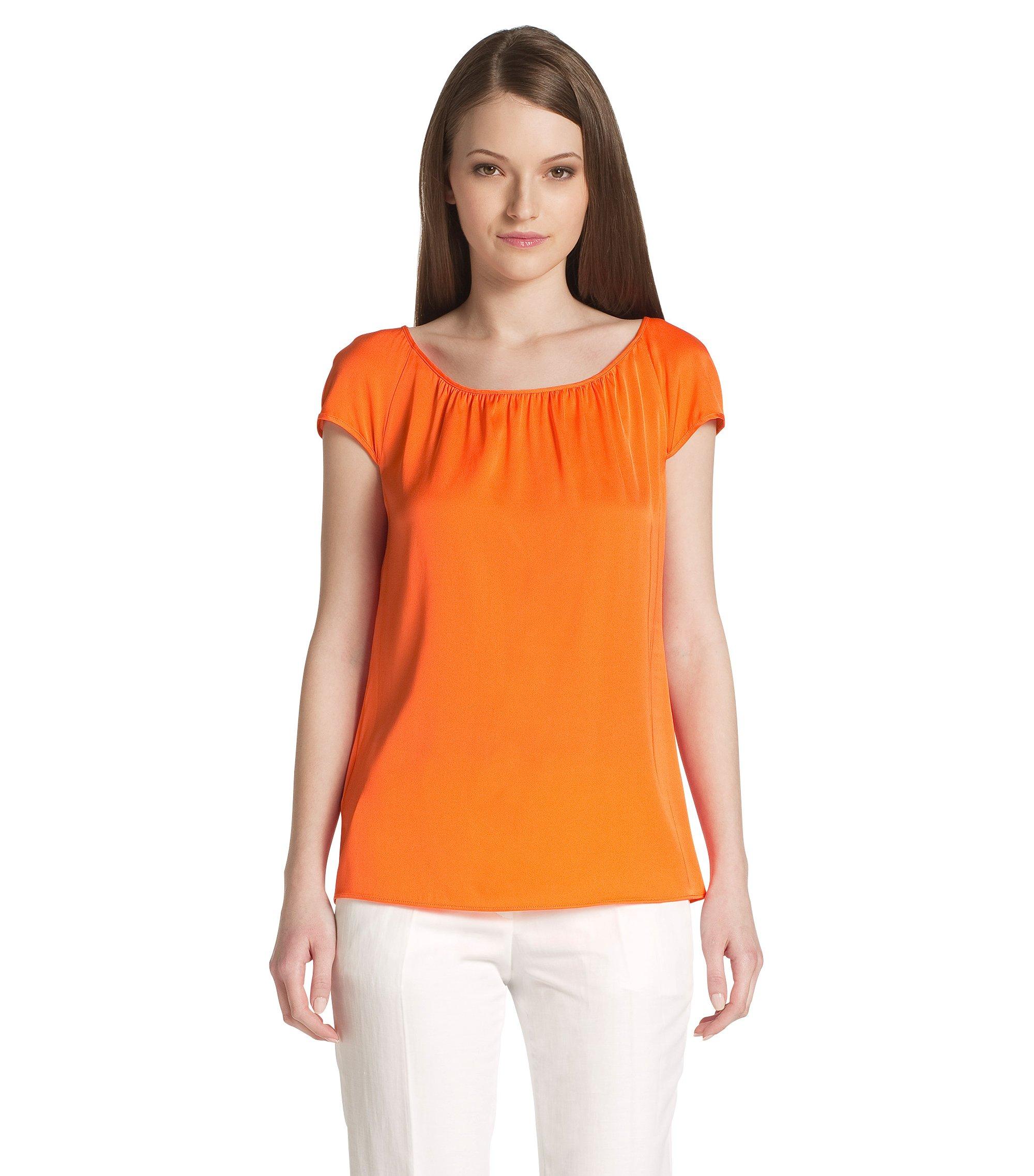Top en soie mélangée, Catoni-1, Orange