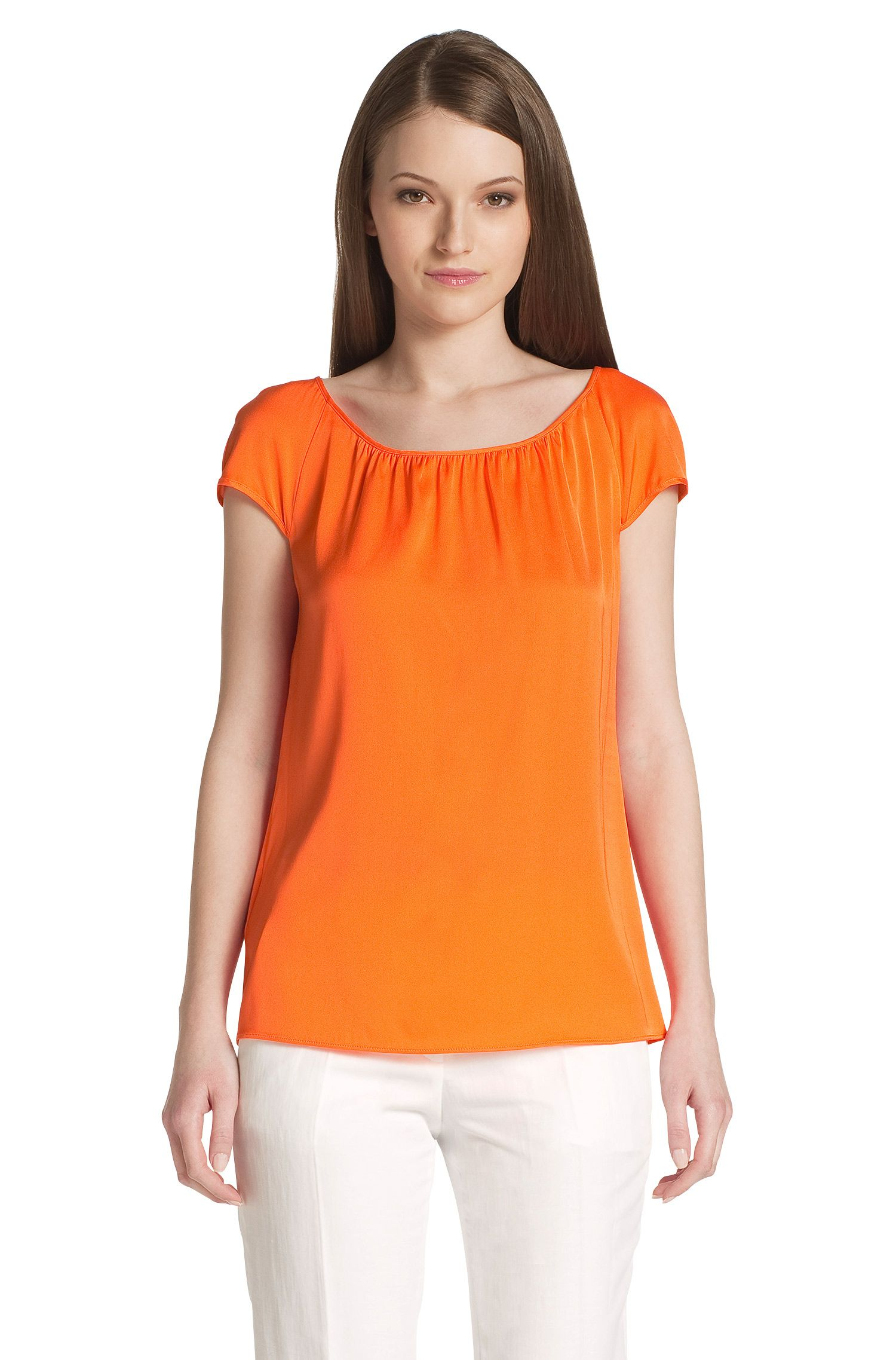 Topje ´Catoni-1` van zijdemix, Oranje