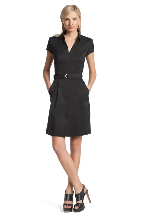 Blended cotton shirt dress 'Kana', Black