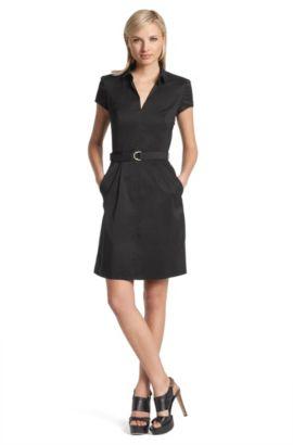Robe-chemise en coton mélangé, Kana, Noir