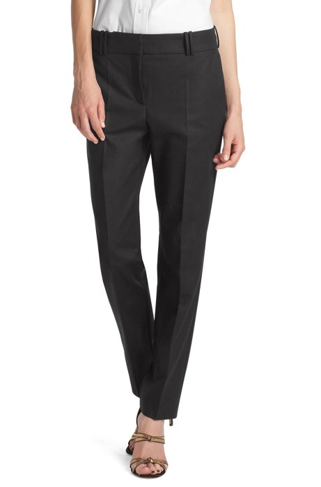 Blended cotton trousers 'Nadelle', Black