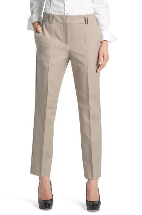 Blended cotton trousers 'Nadelle', Open Beige