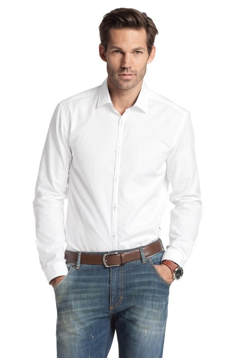 Leisure shirt with a Kent collar 'Riccardo', White