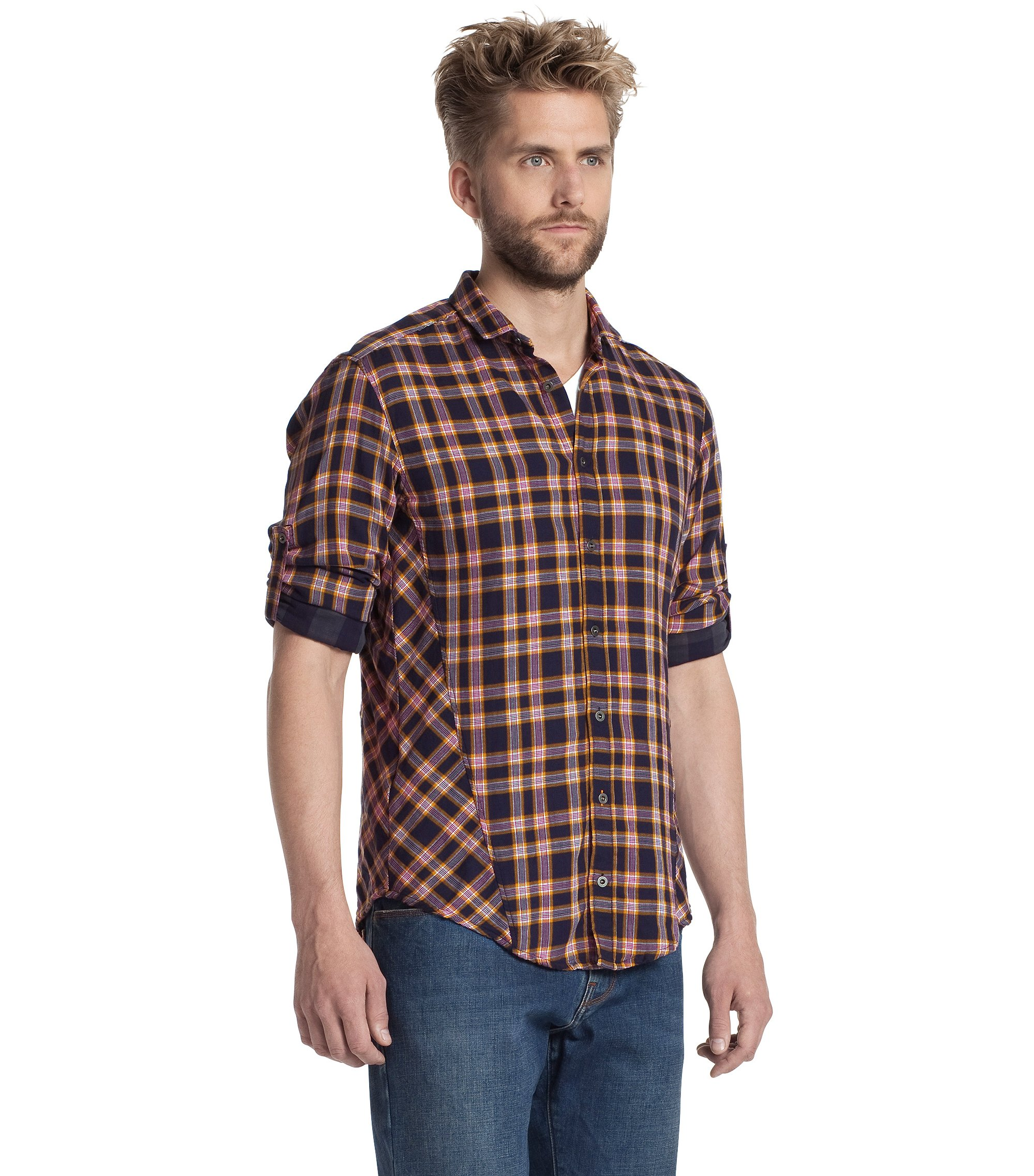 Leisure shirt with a mini Kent collar 'CaE', Open Orange