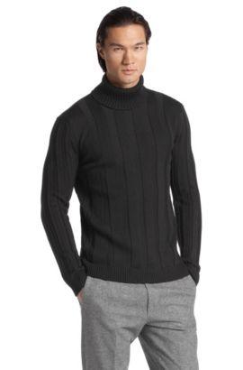 Rollkragen-Pullover ´Swutilon` aus Merinowolle, Schwarz