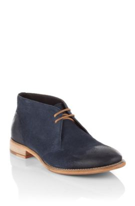 Leren schoenen ´Sailoc` in desert boot-look, Donkerblauw