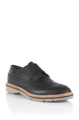 Chaussures basses en cuir de vachette, Bravox, Noir
