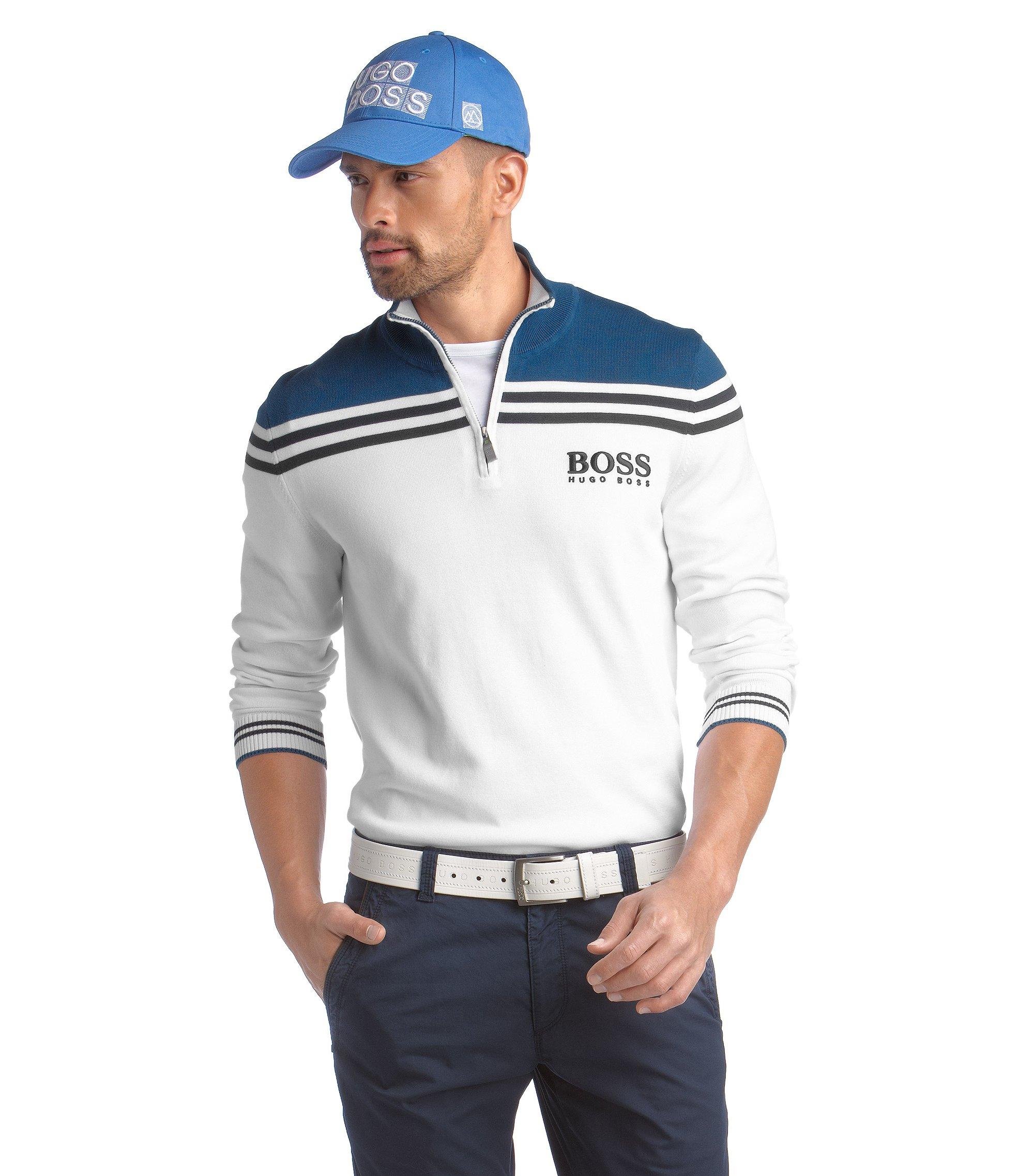 Golfpullover ´Zelchior Pro` mit Streifen, Weiß