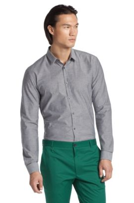 Fashion-overhemd  ´Ero` van katoen, Zwart