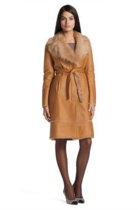 Manteau en pur cuir d'agneau, LE775, Brun chiné