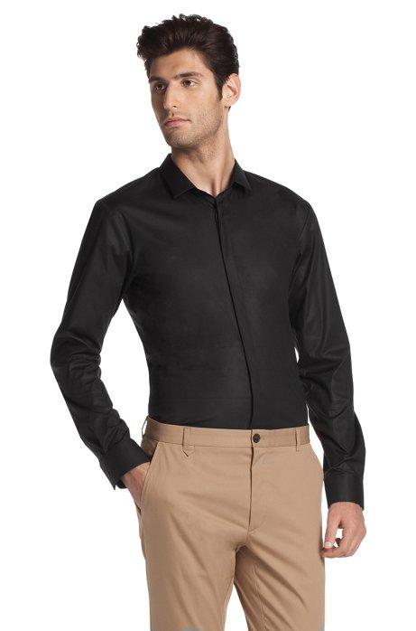 Casual shirt with Kent collar 'Esko', Black