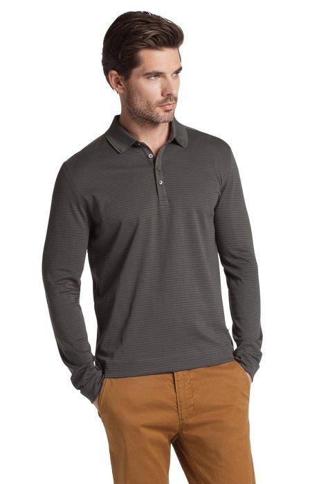 Long-sleeved polo shirt 'Lesona 20', Open Grey