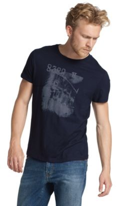 T-shirt à col rond et grand imprimé, Tasko, Bleu foncé