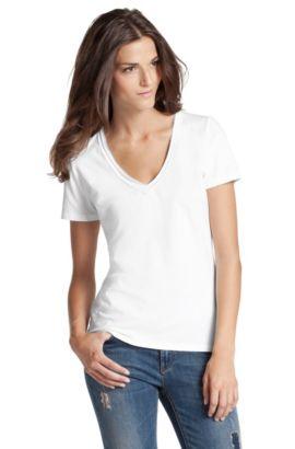 T-shirt 'Vienis' met V-hals, Wit