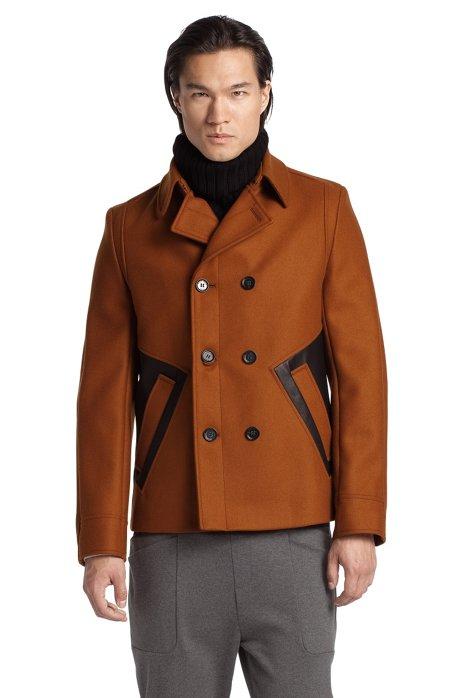 Outdoor jacket in blended new wool 'Bimero', Brown