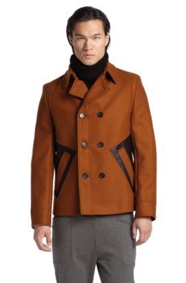Veste outdoor laine vierge mélangée, Bimero, Marron