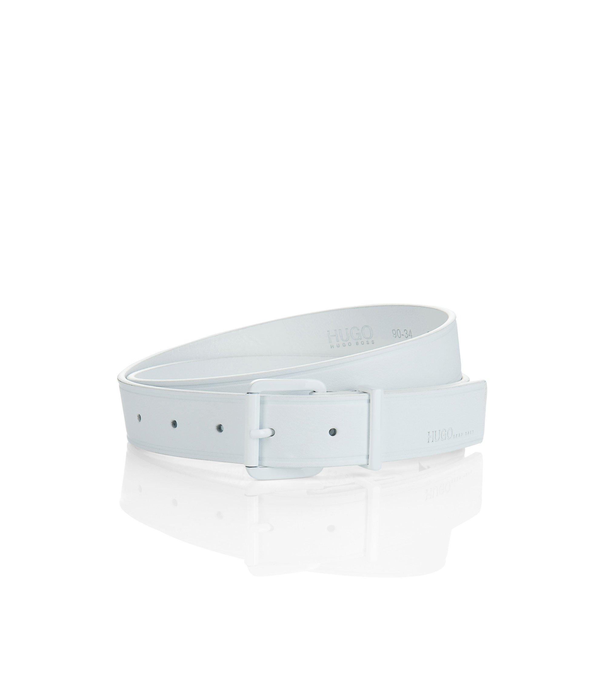 Gürtel ´Superblack` mit Metall-Dornschließe, Weiß