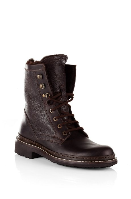 Leather lace-up boot 'Russon', Dark Brown