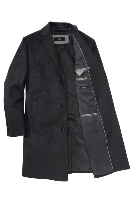 New wool/cashmere blend coat 'The Stratus3', Anthracite