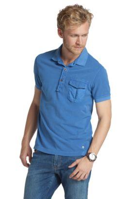Poloshirt ´Pushkyn` met borstzak, Blauw