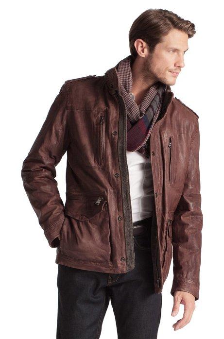 Biker-style leather jacket 'Noakh', Khaki