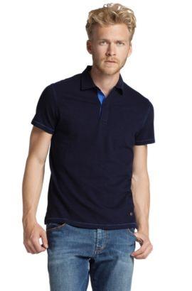Poloshirt ´Paisley` van jersey-katoen, Donkerblauw