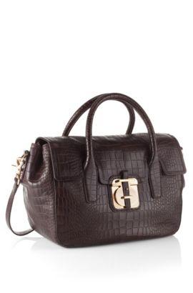 Handtasche ´Cleide-C` in Kroko-Optik, Dunkelbraun