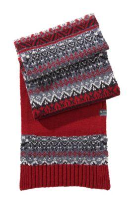 Écharpe norvégienne en laine mélangée, Abbo, Rouge sombre