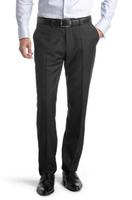 Pantalon de costume en belle laine vierge, Court, Noir